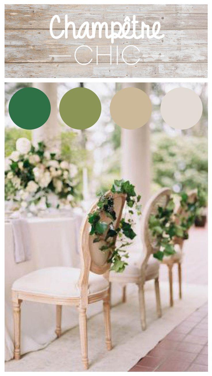 Découvrez notre dernière planche tendance Champêtre chic : couleurs naturelles, verdures et bois pour un mariage sous le signe de la légèreté et de l'élégance.