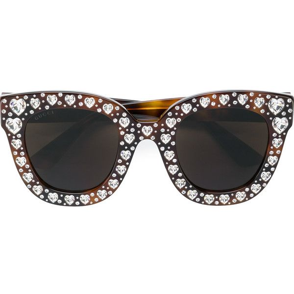 Gucci Eyewear heart shaped embellished sunglasses ($1,315) ❤ liked on Polyvore featuring accessories, eyewear, sunglasses, brown, oversized heart sunglasses, gucci glasses, acetate sunglasses, embellished sunglasses and oversized tortoise shell sunglasses