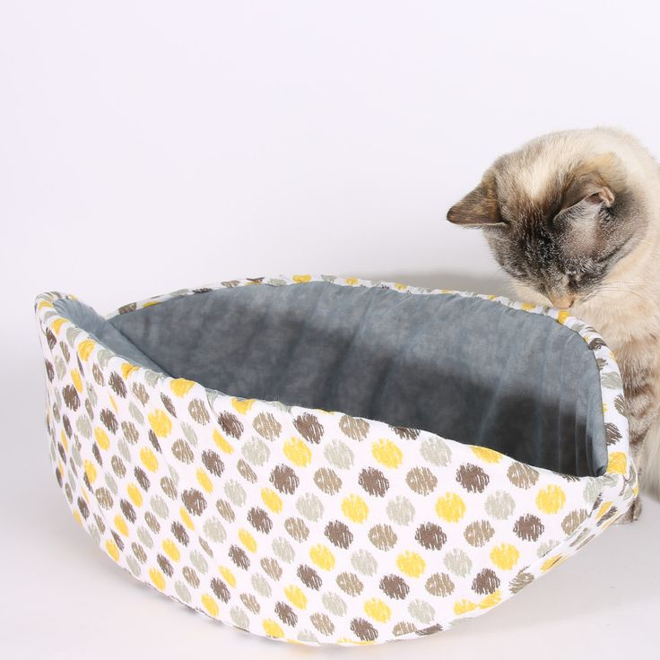 Cat Canoe Modern Cat Bed in Yellow and Grey Sunshine Ikat Polka Dots
