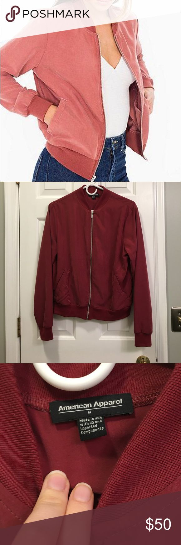 """American Apparel bomber jacket NEVER WORN. The color is """"wine"""". Size medium but runs small! THE COLOR IS DARKER THAN THE ONE SHOWN ON MODEL. American Apparel Jackets & Coats"""