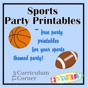 """Free party printables for a sports themed party - water bottle labels, candy bar wrappers, buffet cards/ treat toppers and 2"""" circles. Created by Spencerville Junction and found on www.thecurriculumcornerfamily.com."""