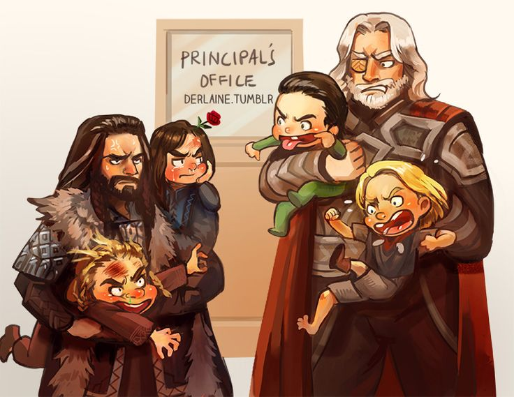 Apparently Loki and Thor got into a fight with Fili and Kili. LOL why can I see this happening??