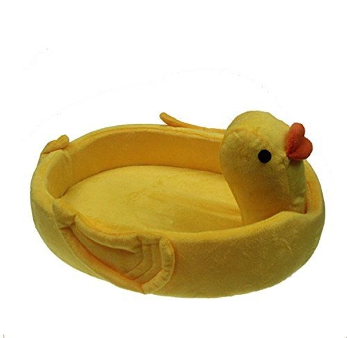 "Funny Yellow Duck Small Pet Dog Cat Bed House For Chihuahua Kennels Animals Shape Fleece Dog Puppy Bed Nest Dog Cushion Mat (M:46389cm/18.0814.933.53"") ** You can find out more details at the link of the image."