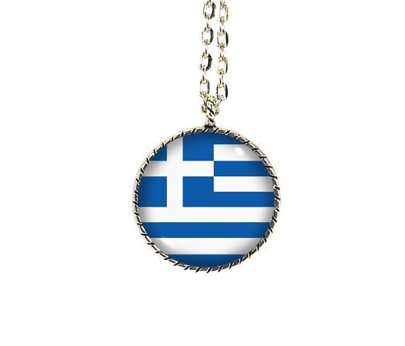 Greek Flag, Greece Flag, Greek Necklace, Greek #jewelry #necklace @EtsyMktgTool http://etsy.me/2vD0HrF