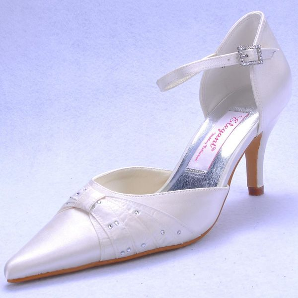"""Dyeable Charming 3"""" Rhinestones Bowknot Pointy Toe D'orsay - Ivory Satin Wedding Shoes (11 colors)"""