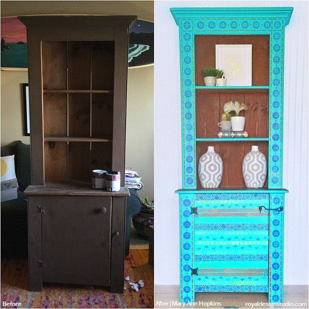 24 Before + After DIY Stencil Projects to Inspire! Modern Shabby Chic Vintage Style - Custom Painted Furniture Stencils and Tribal Border Stencils from Royal Design Studio for Easy DIY Decorating and Painting Decor (project by Mary Ann Hopkins)