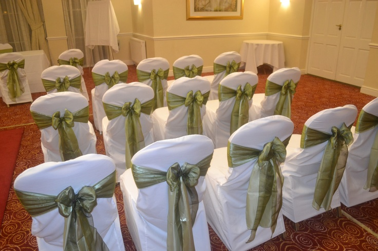 Sage Green Satin and Sage Green Organza Double Bows on White Chair Covers