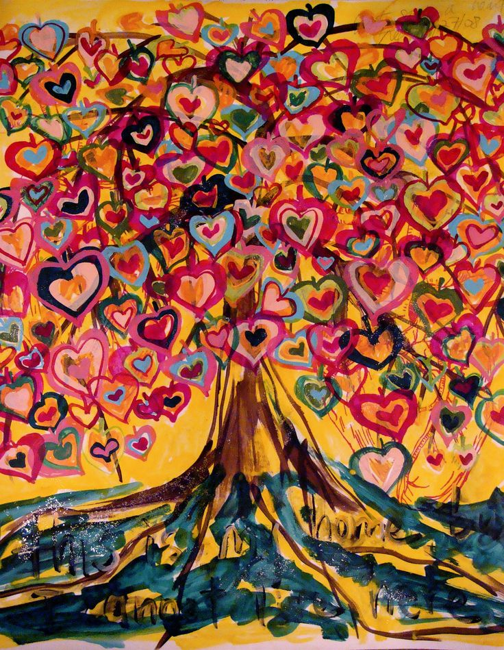 Study of The Heart Tree  The inspirations for this study are several trees with heart-shaped leaves that grow in our neighbors yard.- by Palmarin Merges