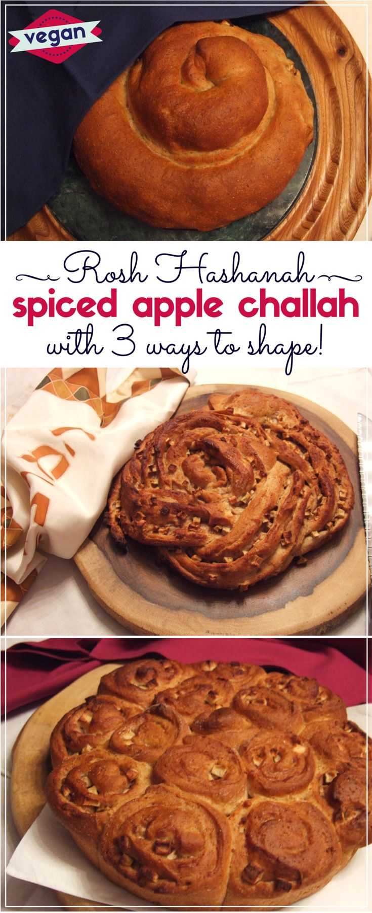 Tasty vegan challah dough is wrapped around a delicious spiced apple filling to create sensational autumn-inspired challah! Perfect for Rosh Hashanah (Jewish New Year). Plus easy directions for 3 beautiful ways to shape your loaf.