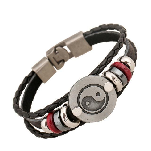 Retro 'Yin & Yang' Charm Genuine Leather Beads Bracelet
