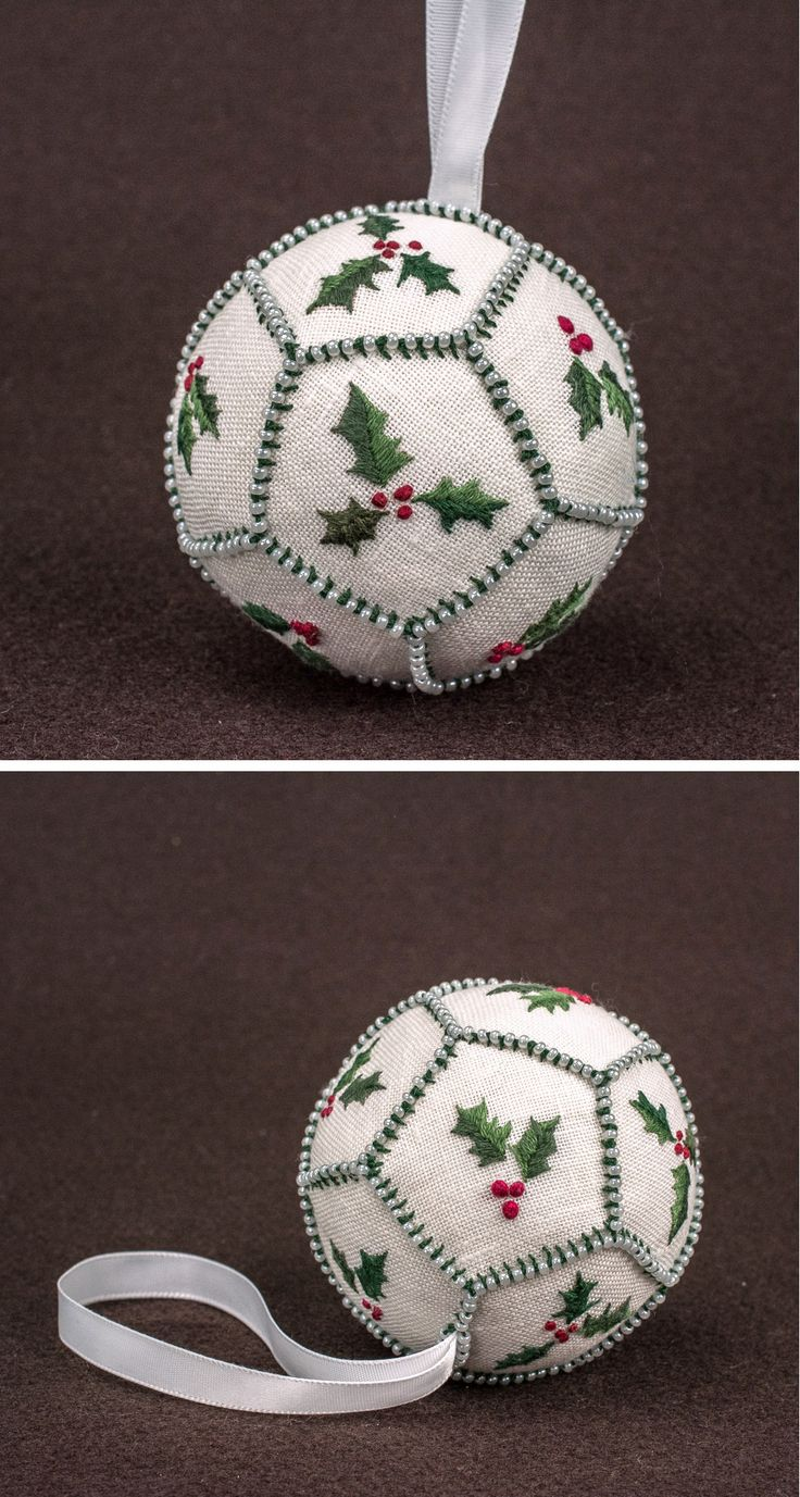 Custom christmas ball ornaments - Embroidered Holly Ornament Assembly And Finishing Techniques From An Article By Hazel Blomkamp In Inspirations