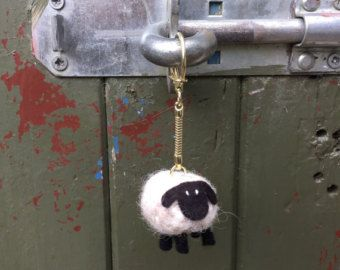 Black Sheep Keyring Bag Charm knitted from pure wool by mybaboo