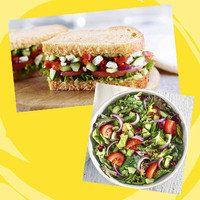 Panera Meal with 350 Calories or Less: Half Mediterranean Veggie Sandwich + Half Seasonal Greens Salad