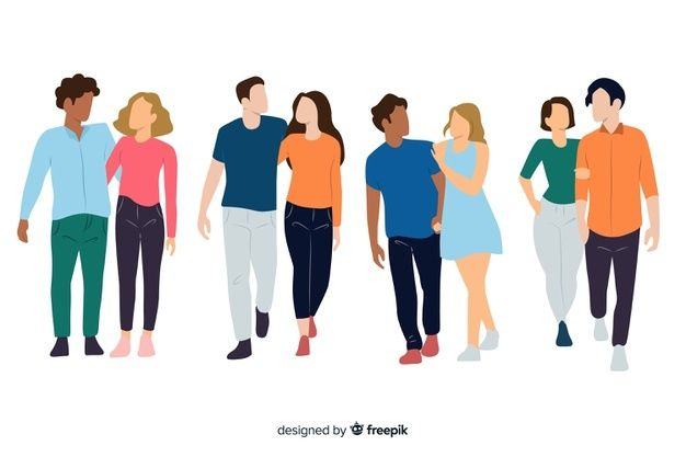 Ilustracion De Personas Caminando En Otono Vector Gratis Persona Caminando Parejas Parejas Jovenes
