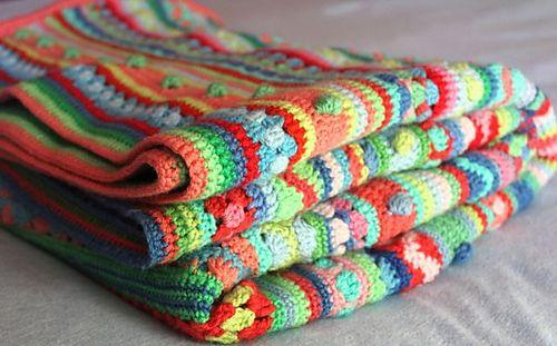Ravelry Mixed Stitch Stripy Blanket Free Pattern By