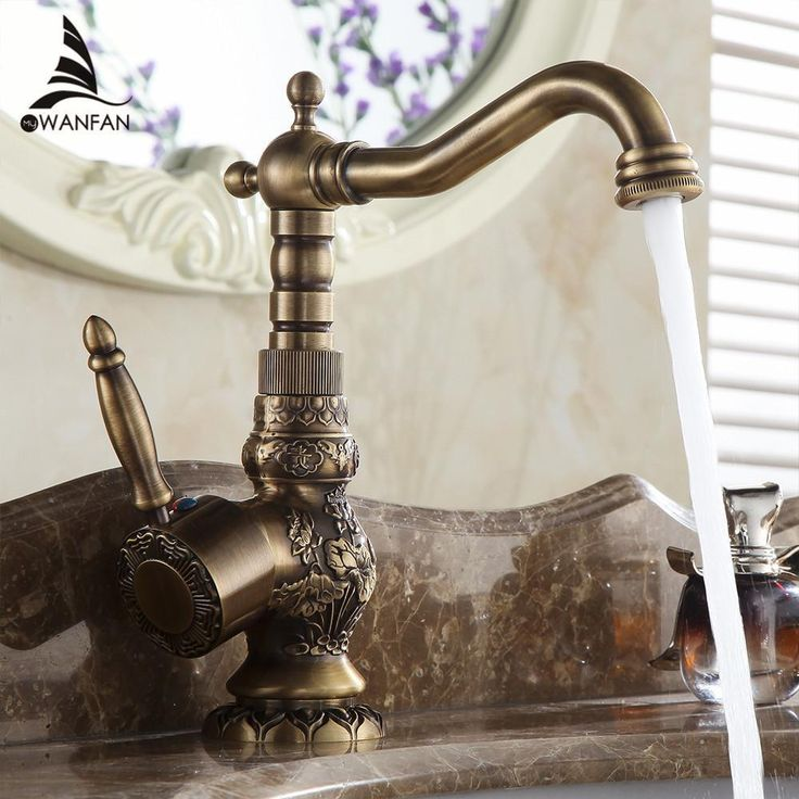 Antique Brass Bathroom Faucet Basin Carving Tap 360 Degree Rotating  #WANFAN