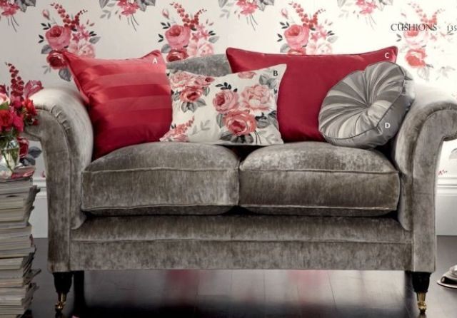 Love This Grey Velvet Sofa And Cushion Arrangement By