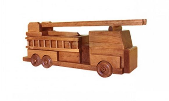 American Made Wooden Toy Fire Truck Side ladders detach and the central ladder extends to enhance the fun!