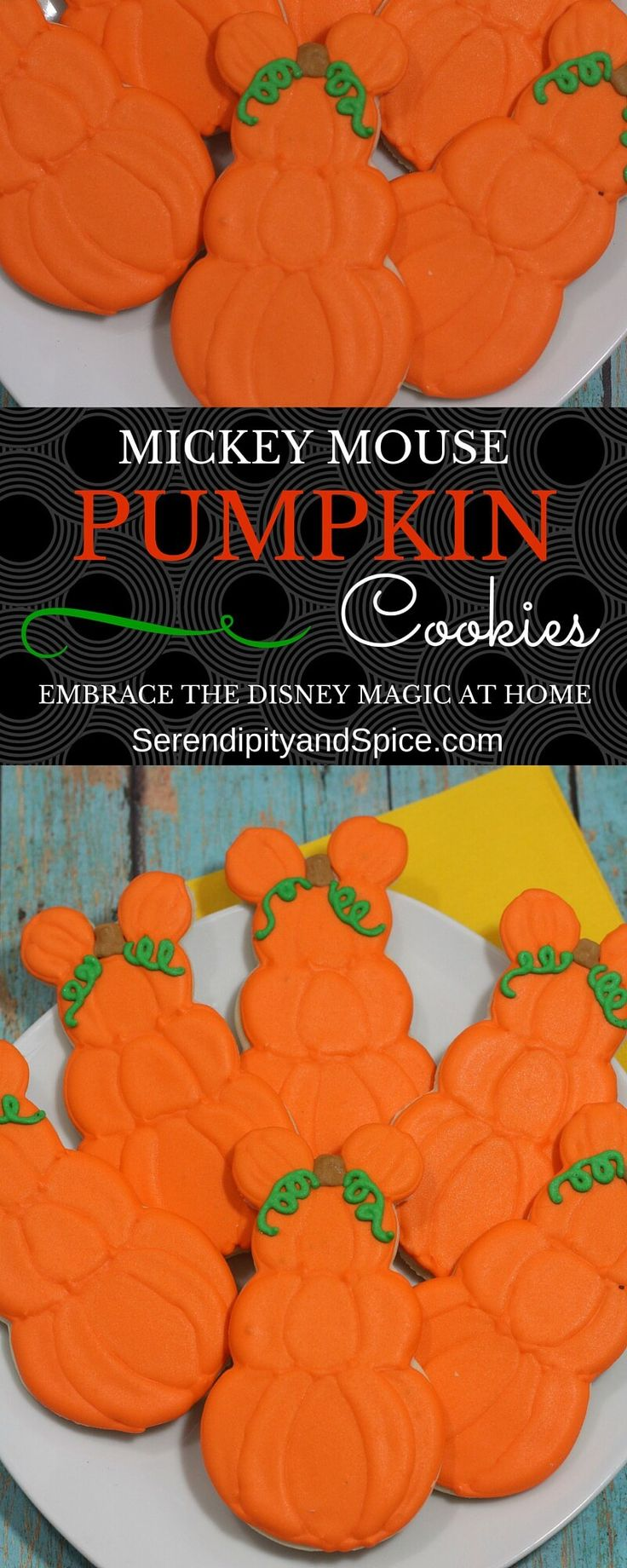 Mickey Mouse Pumpkin Cookies Recipe ~ http://serendipityandspice.com
