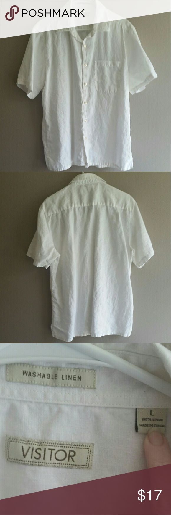 Linen short sleeve button down by visitor CONDITION: Like New  --- CONCERNS: none  --- I will provide more pics, materials, measurements, etc. upon request! --- ***I welcome ALL OFFERS and do bundle discounts!*** Visitor Shirts Casual Button Down Shirts