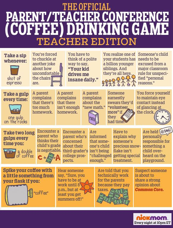 The Official Parent/Teacher Conference (Coffee) Drinking Game: TEACHER'S EDITION funny list | meme | kids:
