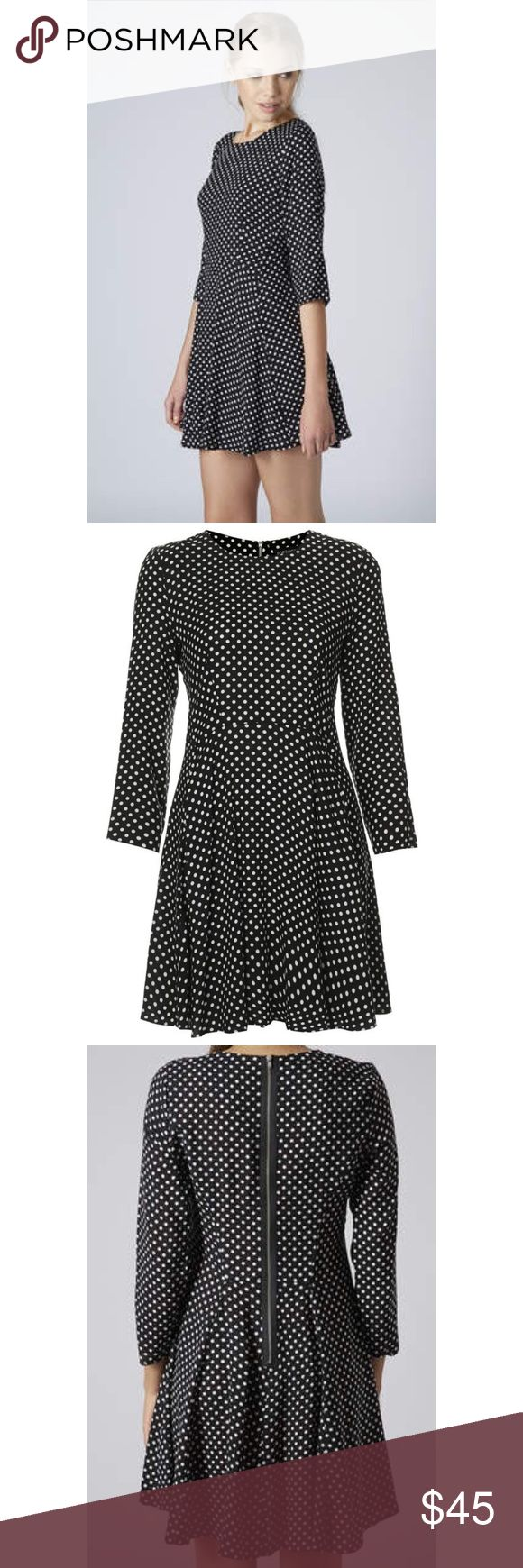 TOPSHOP Petite Spotty Print Black Swing Dress Petite polka dot print swing skater dress cut with a high waist and softly pleated skirt. 3/4 sleeve with zip fastening back. 100% Viscose. Machine washable. Topshop PETITE Dresses Mini