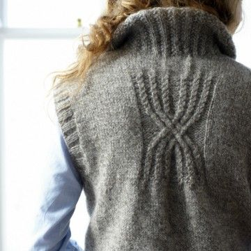 Sleeveless long cardy with handwarmer pockets pattern back ~ FREE pattern download with an option for sleeves too