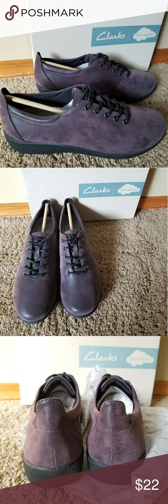 """NWT Clarks Sillian Tino women's shoes 7 Brand new in box and original packaging, never been worn. Clarks Sillian Tino womens shoes, size 7. No scuffs, no marks. Beautiful grayish purple color. Super soft and the box says """"cloud steppers."""" Clarks Shoes Flats & Loafers"""