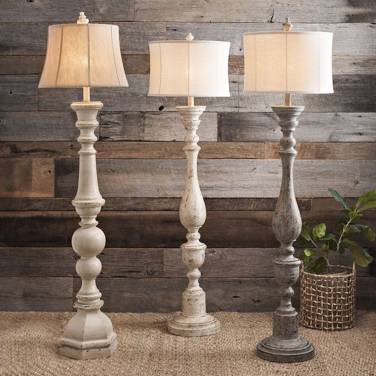 Distressed Cream Spindle Floor Lamp