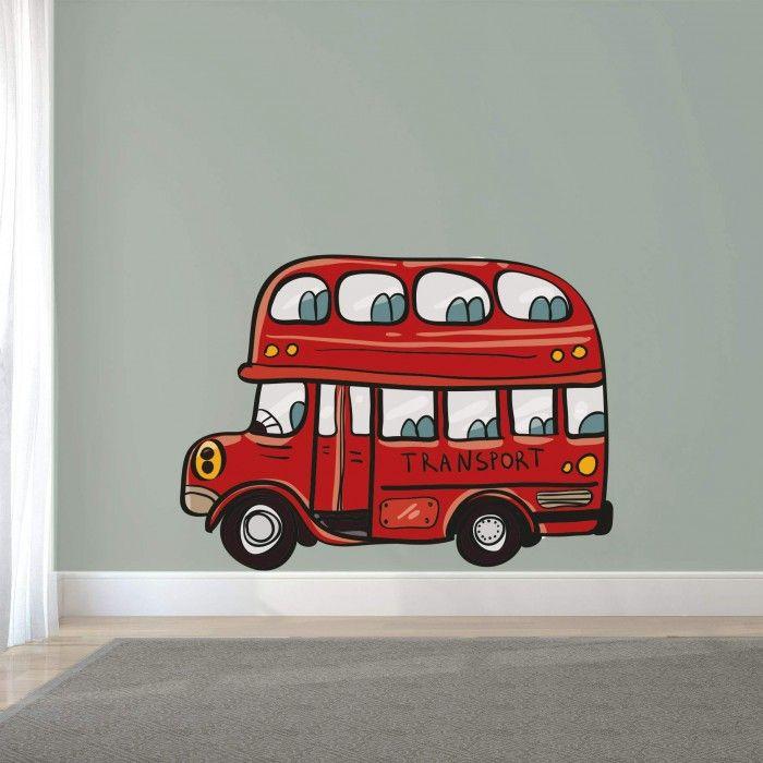 Muursticker dubbeldekker bus - rood