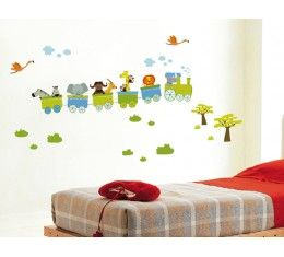 Train with Safari Animals wall sticker available at www.kidzdecor.co.za. Free postage throughout South Africa