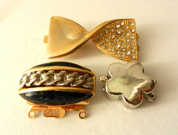 Gorgeous trio of Clasps for jewelry  1960 original by RAKcreations