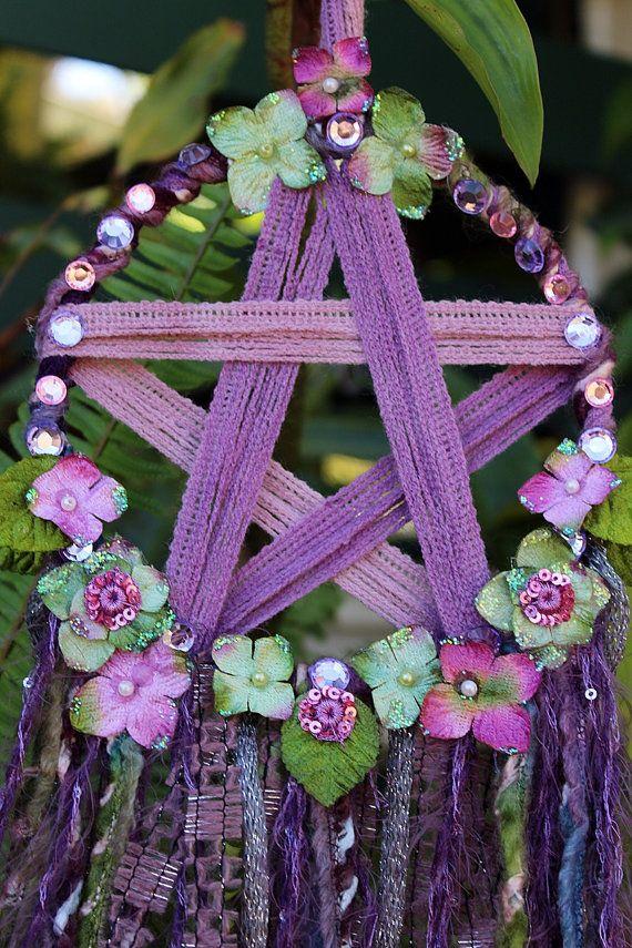 Pentagram wall hanger Mixed Media Textile Art by RavenshiresRealm