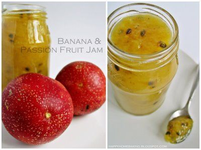 Banana & Passion Fruit Jam    I had left over, mushy bananas, and it's the beginning of passion fruit season - so this jam was inexpensive and tasty!     From: Happy Home Baking