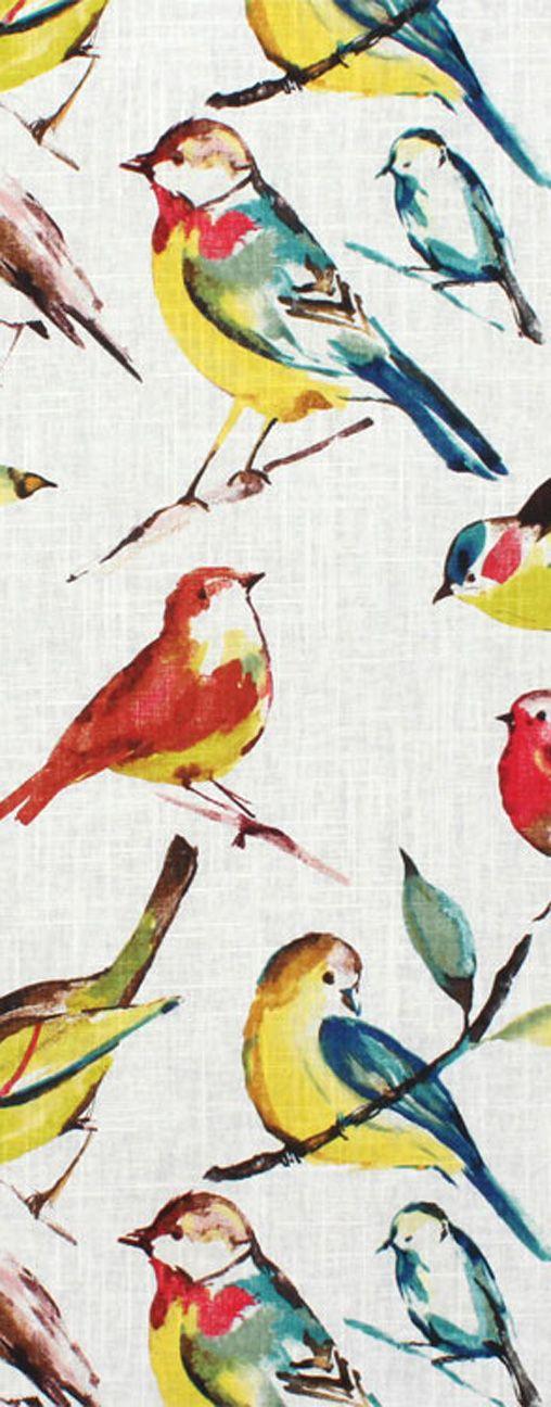 Richloom Birdwatcher Summer Fabric Sewing Homedecor Blue Yellow Birds