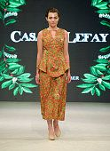 Vancouver Fashion Week - Day 4 casa lefay sustainable fashion label, inspired by sacred plants in amazonian, illustration and fashion catwalk. Eco fashion and sustainable fabrics printed with water based inks . Cassava illustration