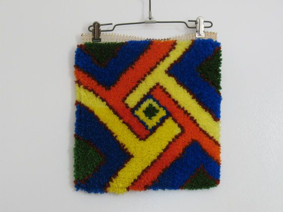 Vintage 1970s latch hook wall hanging / god's eye yarn art / boho home decor