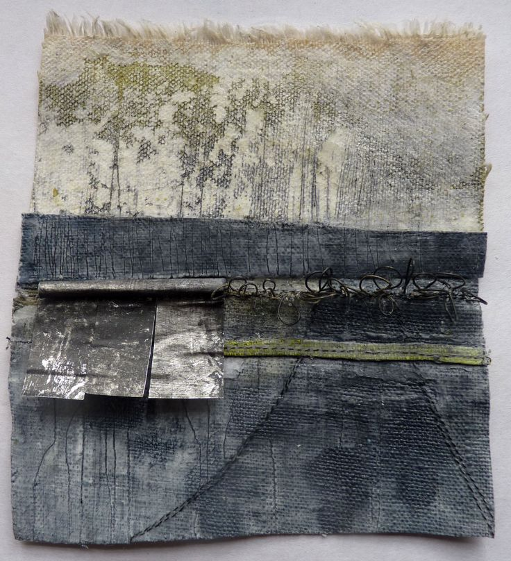 Debbie Lyddon, Small Marshscape – Metal Jetty, Cloth, Stitch, Wax, approx. 14x14cms