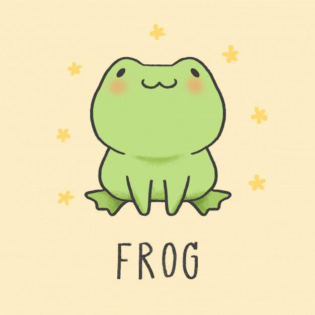 Cute Frog Cartoon Hand Drawn Style in 2020 | Cute cartoon drawings ...