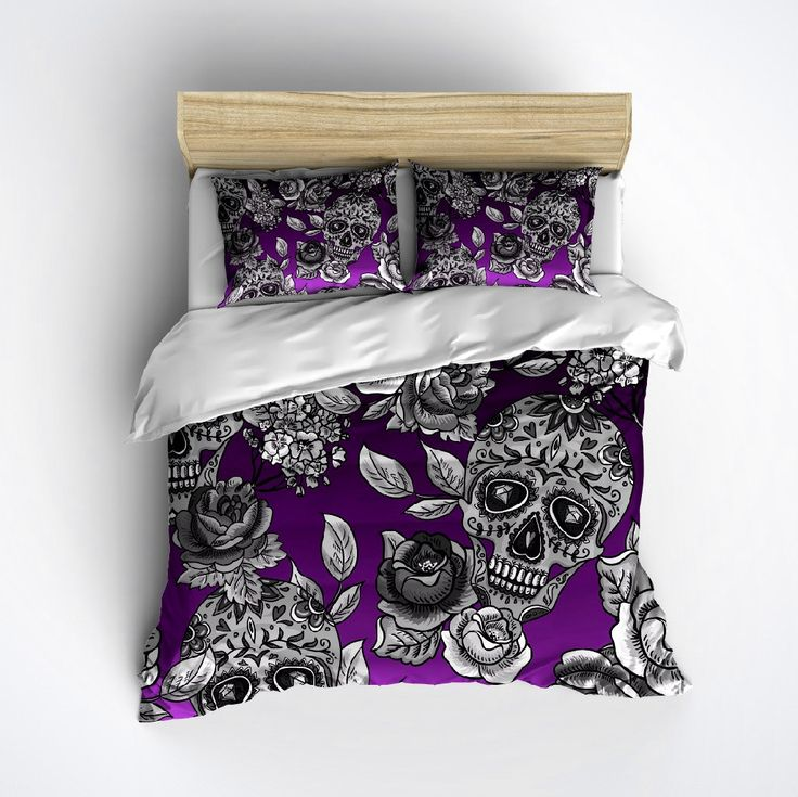 Sugar Skull Bedding - Purple Ombre Skull and Rose Print - Sugar Skull Duvet Cover, Sugar Skull Bedding Set by InkandRags on Etsy https://www.etsy.com/listing/239222398/sugar-skull-bedding-purple-ombre-skull