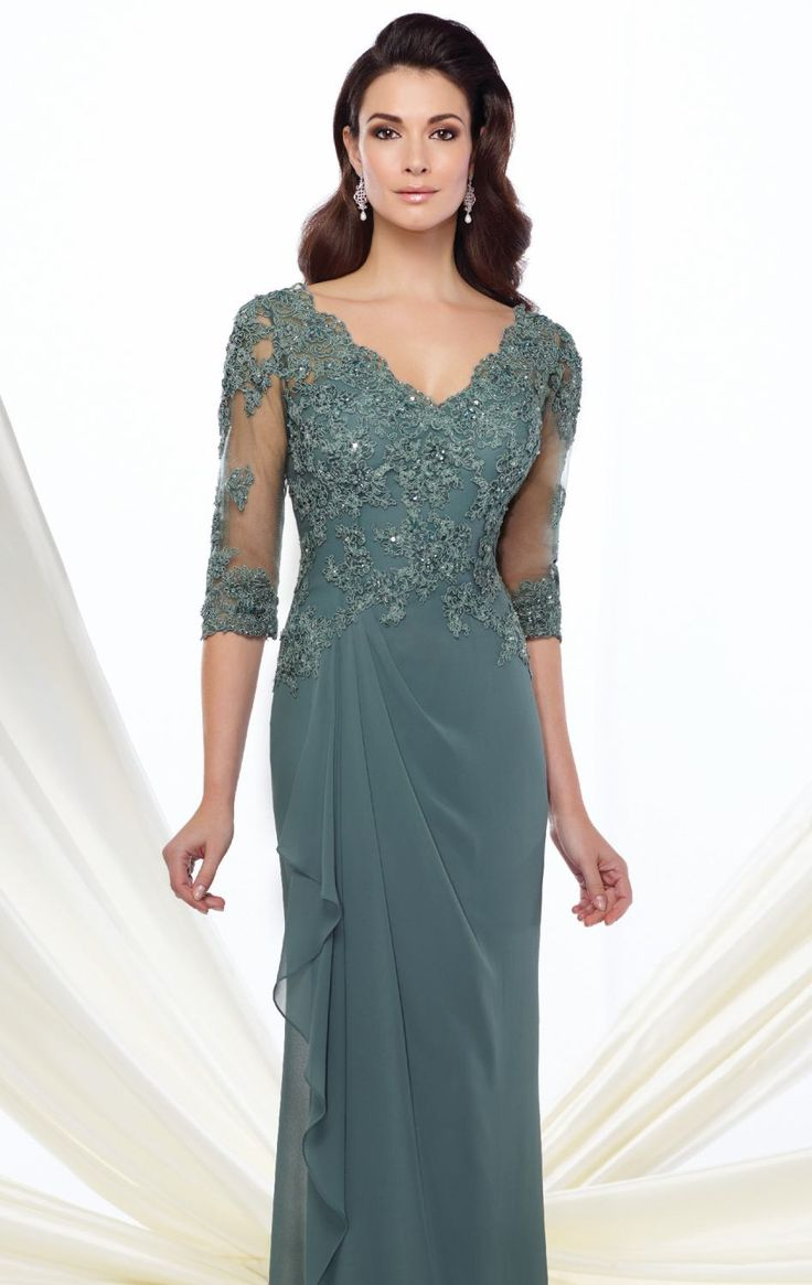Let your beauty stand out in Mon Cheri Montage 216965. This long gown features a V-neckline with three quarter length sleeves. The fitted bodice is encrusted with hand-beaded beads that create an edgy look.