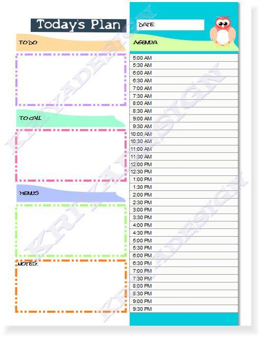Daily Agenda Pdf – Printable Editable Blank Calendar 2017