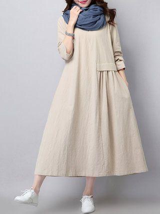 Rundhalsausschnitt Shift Tägliche lange Ärmel Lässige Kleidung Kleid