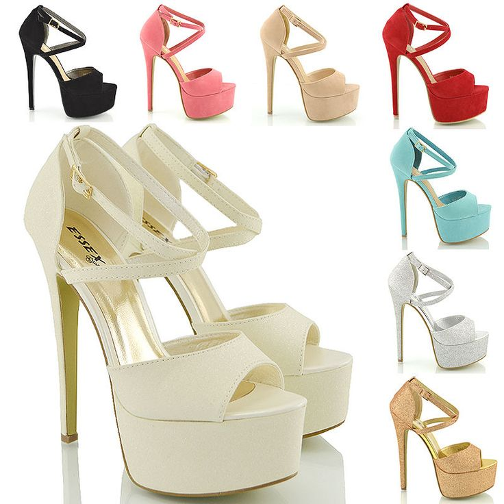 Womens Strappy Platform Peep Toe Stiletto Sandal Ladies High Heel Shoes Size 3-8  | eBay