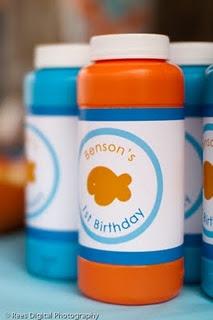 orange and blue party theme, gold fish BUBBLES!