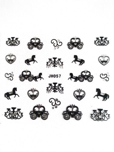 Gem horse & carriage nail art stickers £1 http://www.charliesnailart.co.uk/princess-horse-carriage-nail-stickers/