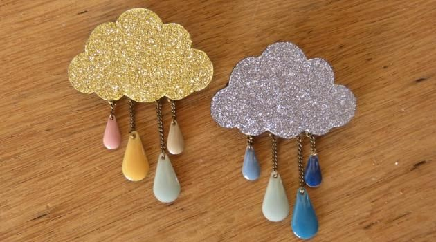 DIY Cloudy brooch