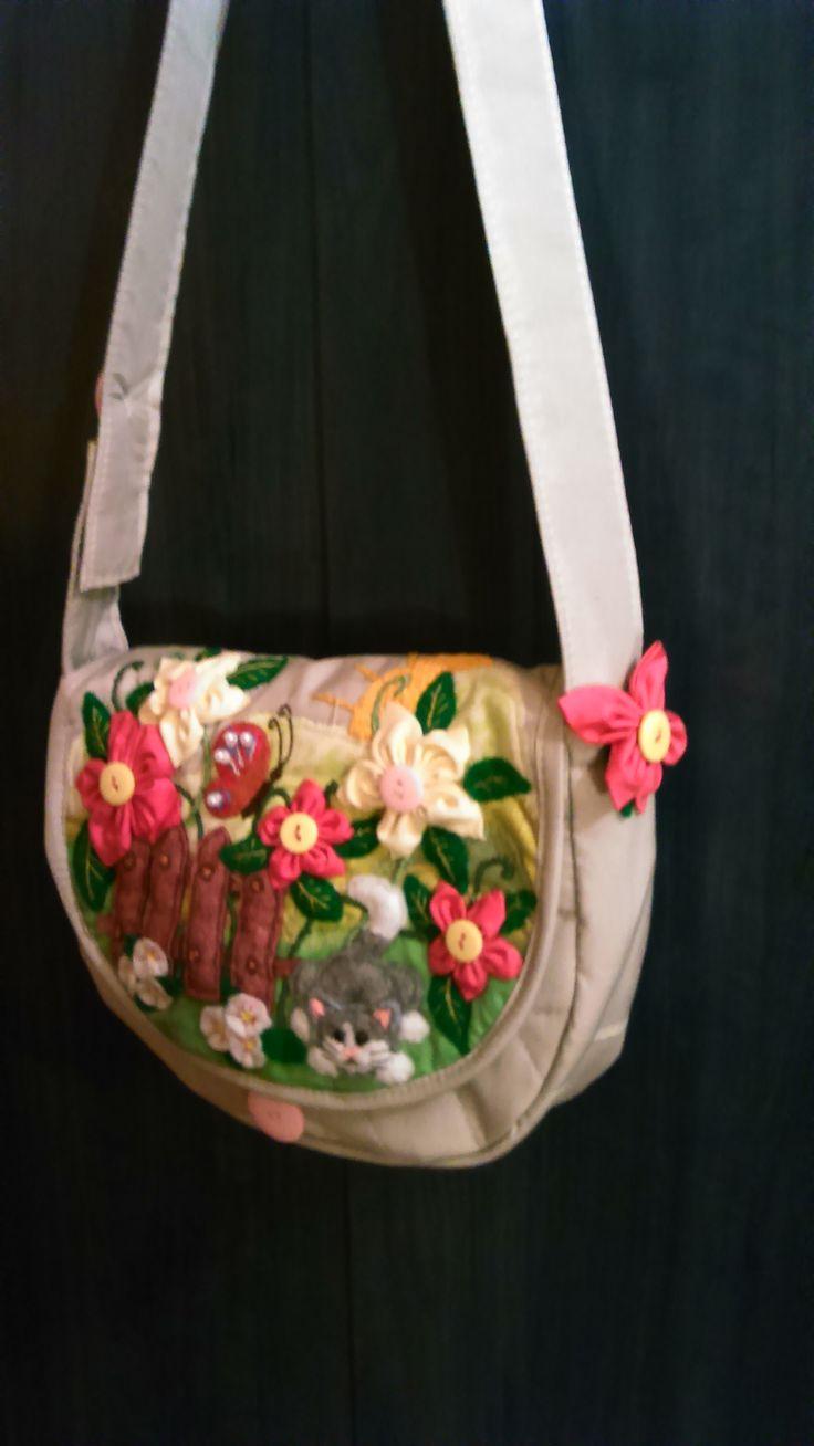 "a kid's bag - ""a kitty in the garden"" by Alina Wodzińska"