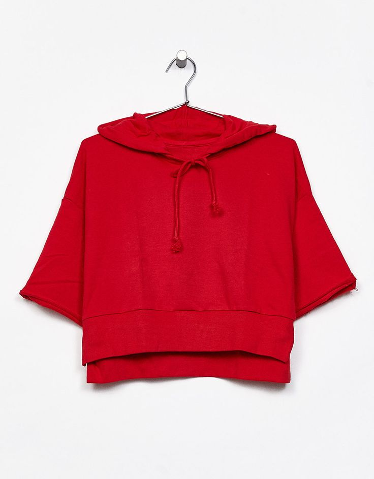 Short sleeve hoodie - Sweats - Bershka United Kingdom