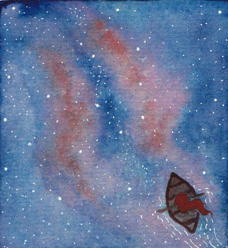Let's go somewhere where the stars kiss the ocean . #childrenswritersguild #illustration #drawing #galaxy #watercolor